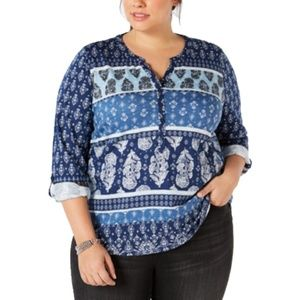 Style & Co Plus Size Printed Split Neck Henley Top
